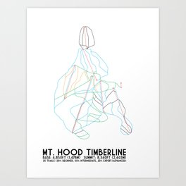 Mt. Hood Timberline, OR - Minimalist Trail Maps Art Print