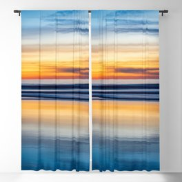Cloudy Abstract Ocean Beach Seascape Reflection (blue and orange gradient ombre) Blackout Curtain