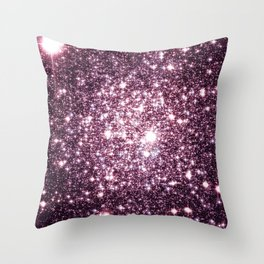 Mauve Sparkle Stars Throw Pillow