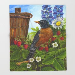 Robin and Old Wooden Bucket Throw Blanket