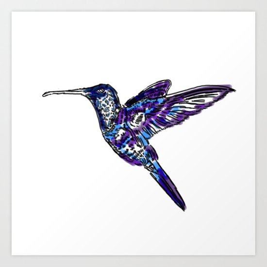 Blue Humming bird Art Print