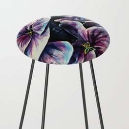 purple flowers watercolor art Counter Stool