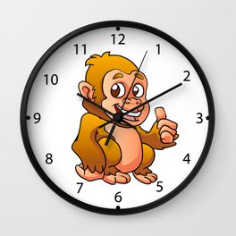 baby gorilla cartoon Wall Clock