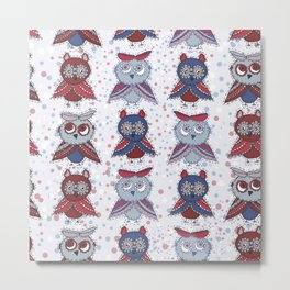 doodle owls blue red gray brown Metal Print