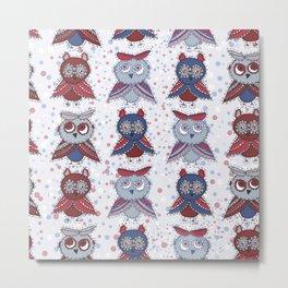 doodle owls blue red gray brown Metal Print