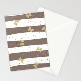 Butterfly Christmas pattern on Brown White Stripes Stationery Cards