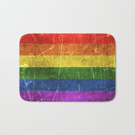 Vintage Aged and Scratched Rainbow Gay Pride Flag Bath Mat
