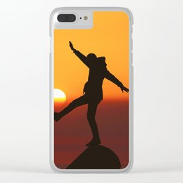 She Kicks the Sun (Color) Clear iPhone Case