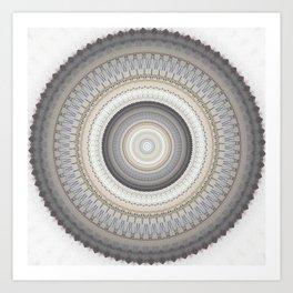 Blue Grey Vintage Mandala Art Print