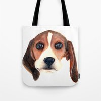 beagle Tote Bags featuring Beagle by Carmen Lai Graphics