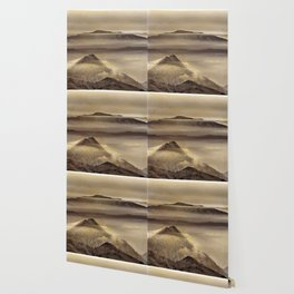 Mist At The Mountains. Painted Photograph Wallpaper