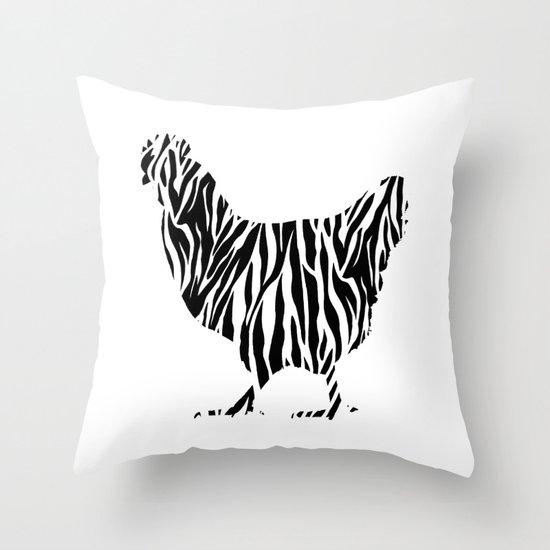 Chicken with zebra pattern Throw Pillow