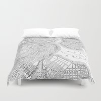 boston map Duvet Covers featuring Vintage Map of Boston (1878) by BravuraMedia