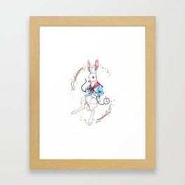 A late white rabbit Framed Art Print