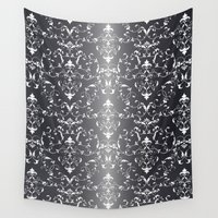 gray pattern Wall Tapestries featuring Gray floral pattern by Veronika