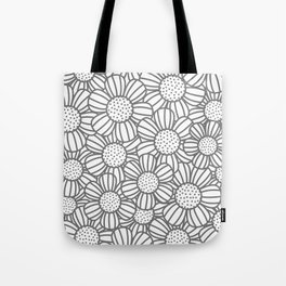 Field of daisies - gray Tote Bag