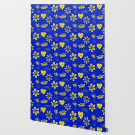 Yellow and Blue Floral Pattern Wallpaper