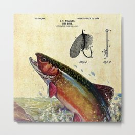 Vintage Trout Fly Fishing Lure Patent Game Fish Identification Chart Metal Print