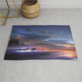 Fascinating Wild Fairytale Horses Running Across Mystic Fire River Dreamy Sunset UHD Rug