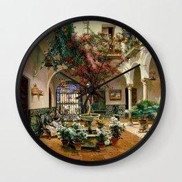 Interior Courtyard Seville Spain by Manuel Garcia Y Rodriguez Wall Clock