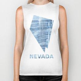 Nevada map outline Light steel blue blurred wash drawing design Biker Tank