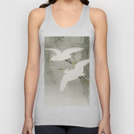 Flying Egrets - Japanese vintage woodblock print Unisex Tank Top
