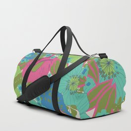 Green, Turquoise, Blue and Magenta Retro Floral Pattern Duffle Bag