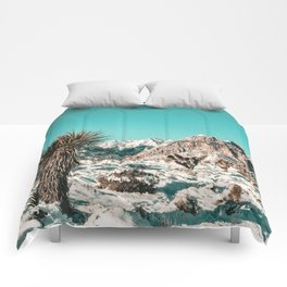 Vintage Lovers Cacti // Red Rock Canyon Mojave Nature Plants and Snow Desert in the Winter Comforters