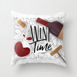 Wine time white Throw Pillow