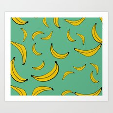 Sea of bananas Green Art Print