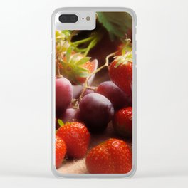 Fresh strawbeerie and Grapes to fall in love with Clear iPhone Case