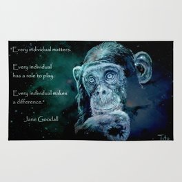 A JANE GOODALL quote - universe version Rug