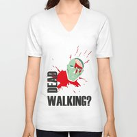 the walking dead V-neck T-shirts featuring dead walking by Tudisco