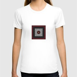 Ruby Red Marble w/ Blk & White Geometrica Pattern Insert T-shirt