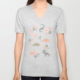 Floral Burst of Dinosaurs and Unicorns in Pink + Green Unisex V-Neck