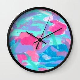 Riverside Carnival - abstract painting modern pink blue summer Wall Clock