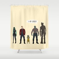guardians of the galaxy Shower Curtains featuring GUARDIANS OF THE GALAXY by Kaitlin Smith