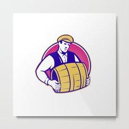 Bartender Carrying Beer Keg Retro Metal Print