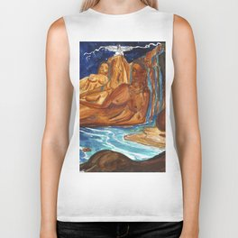 Moon Bathing Babes - Watercolor painting of Earth and Ocean Goddesses Biker Tank
