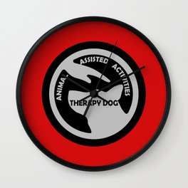 Animal Assisted Activities  - THERAPY DOG logo black white Wall Clock