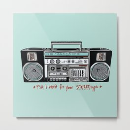 Stereo type Nonconforming | Casette Player | Radio | Hand-drawn Stereo Metal Print