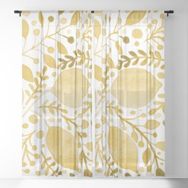 Branches and leaves - yellow Sheer Curtain