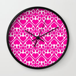 Paw Prints on my Heart - in Magenta Wall Clock