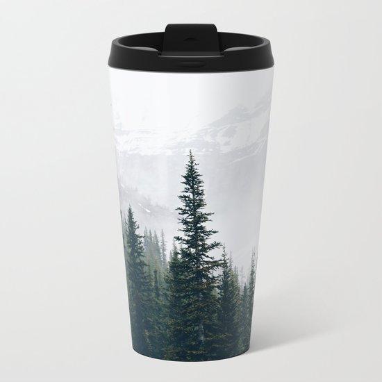 Evergreens in the fog Metal Travel Mug