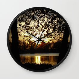 Kansas Golden Sunset Reflection Wall Clock