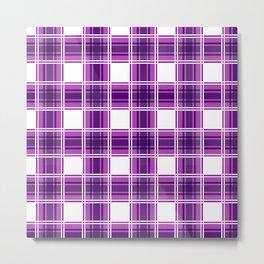 Purple and White Checks Metal Print