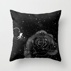 Rose in Space Throw Pillow
