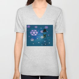 Snowman In A Snow Storm By Annie Zeno Unisex V-Neck
