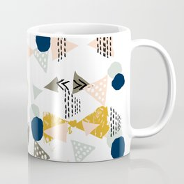 Minimal modern color palette navy gold abstract art painted dots pattern Coffee Mug