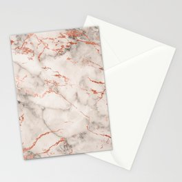 Elegant abstract gray rose gold foil marble Stationery Cards